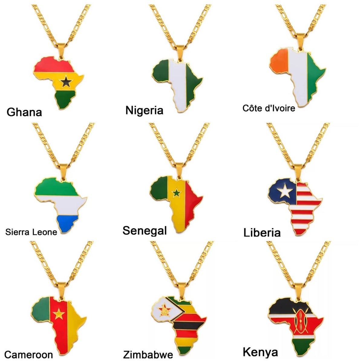 Image of AFRICAN MAP AND FLAG PENDANT NECKLACES | PRE-ORDER