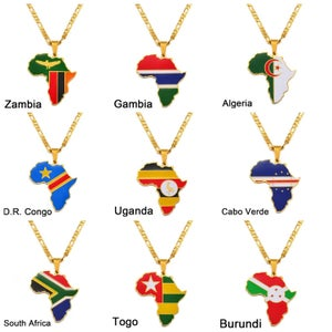 Image of AFRICAN MAP AND FLAG PENDANT NECKLACES   PRE-ORDER