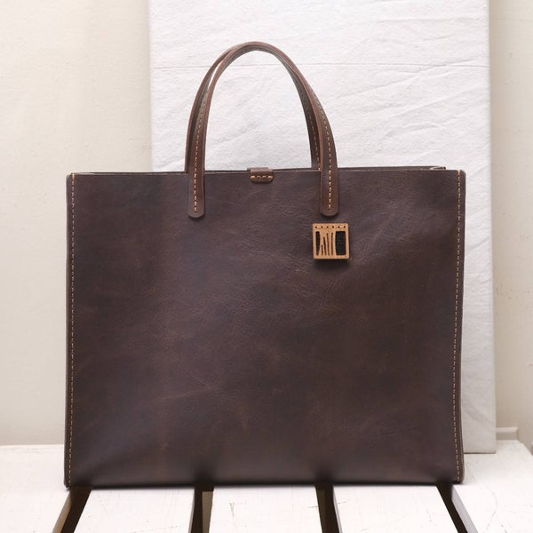 Image of Hand Held Boxy Tote in  dark brown