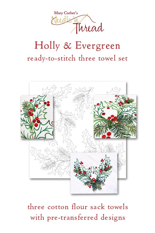 Image of Holly & Evergreen 3-Towel Set with Transferred Designs