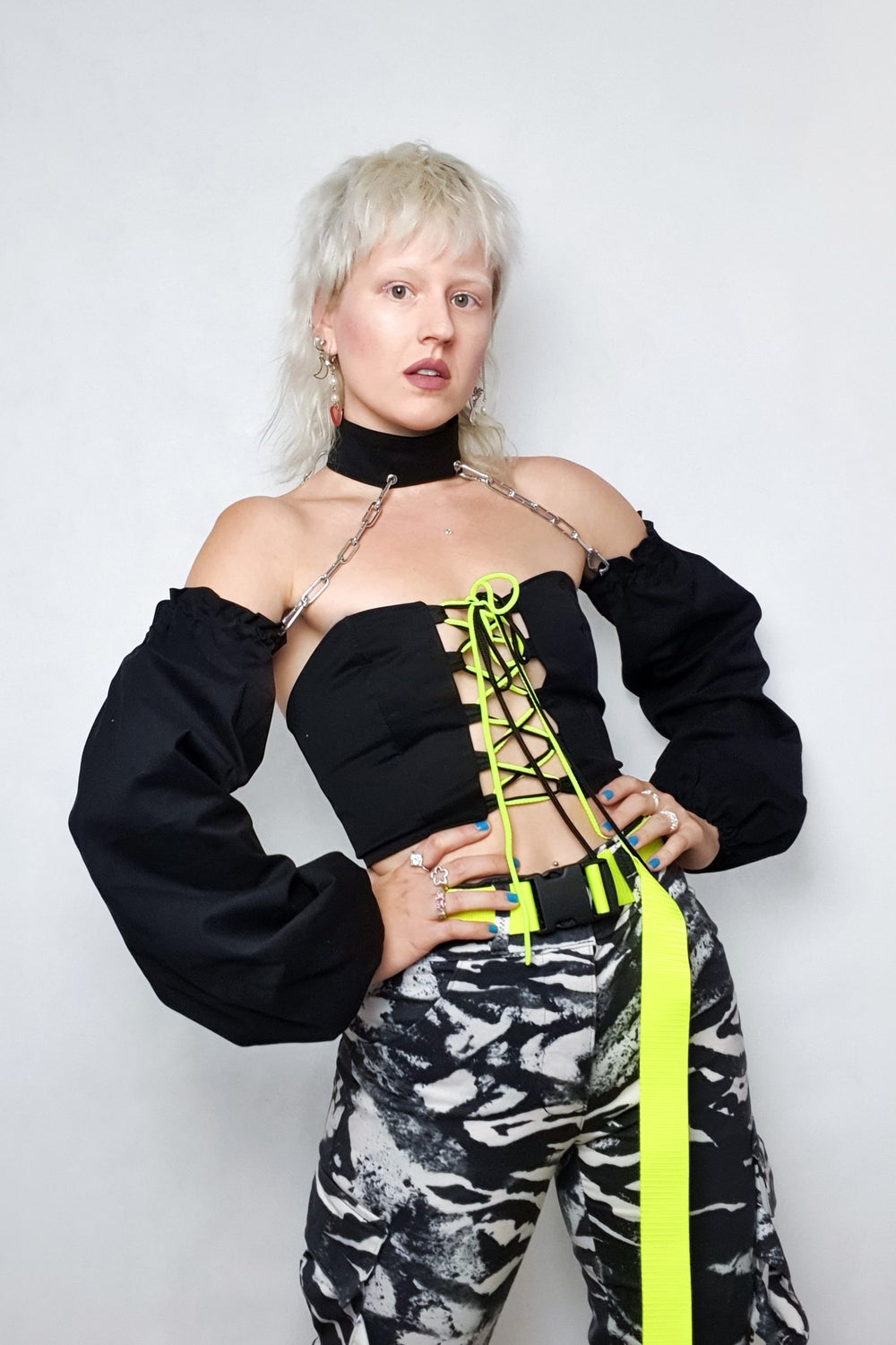 Image of Black Chain sleeves top