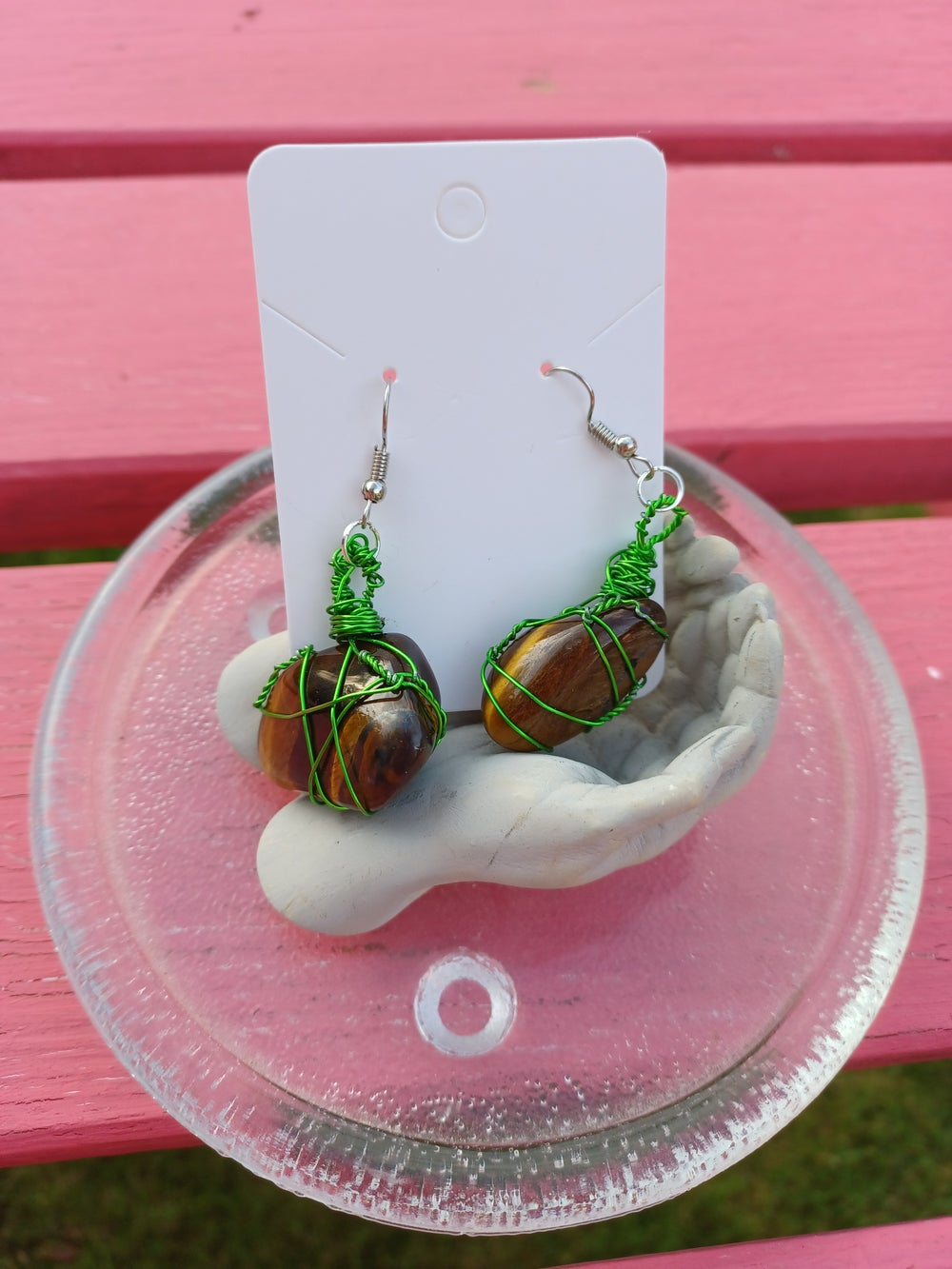 Image of Tumbled Stone Wire Wrapped Earrings