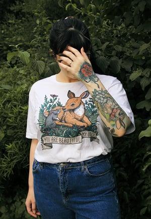 Image of My Deer Organic T-Shirt - Full Colour White