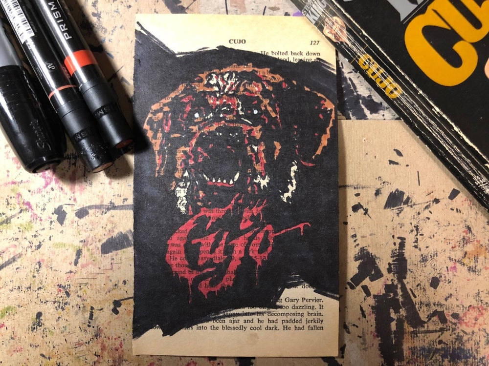 Image of *ORIGINAL* Book Page Sketch: Cujo on the Stephen King Novel