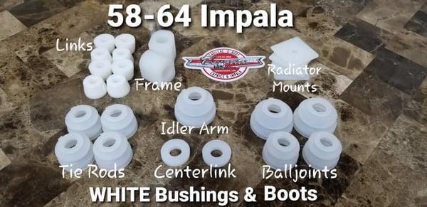 Image of 1958-1964 IMPALA WHITE BUSHINGS & BOOTS $230.00