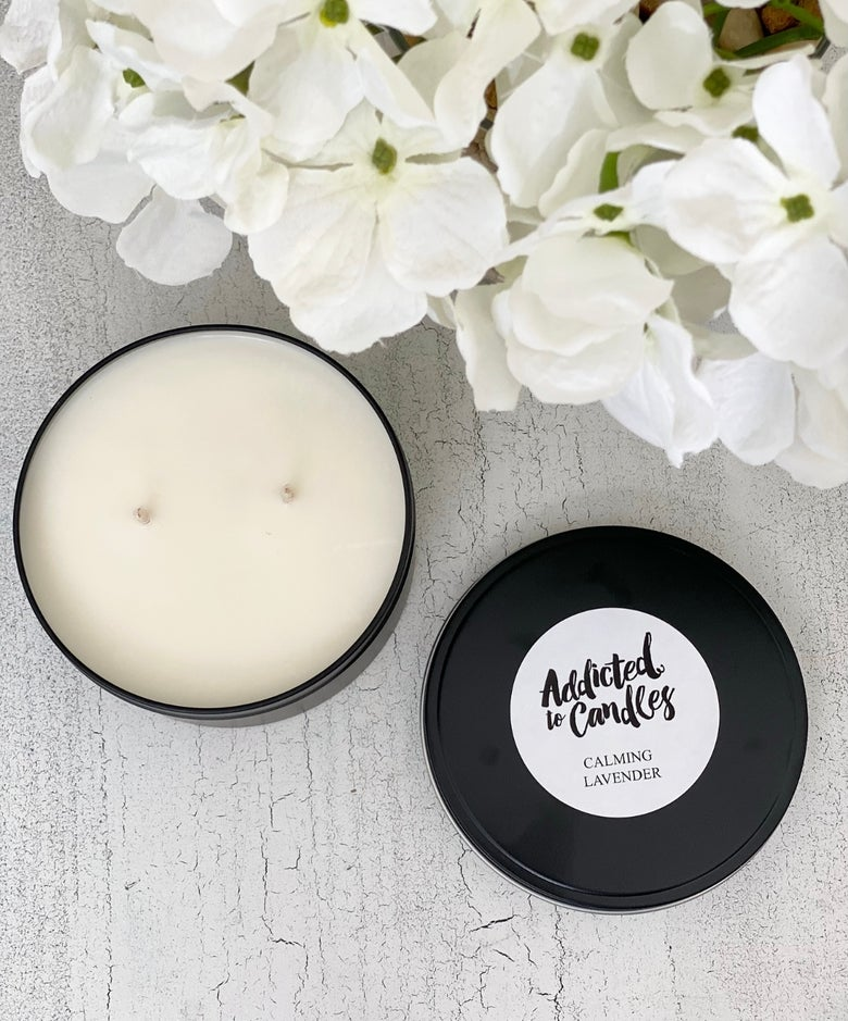 Image of Luxury Soy Candle Travel Tin 12oz - Various Scents