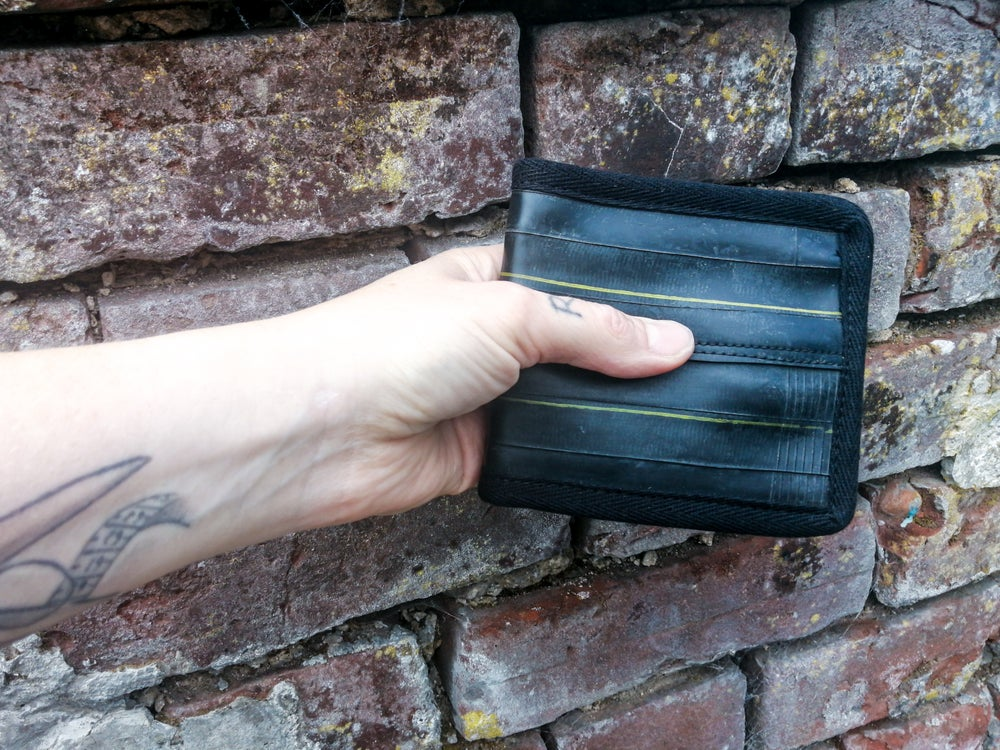 """Image of CARD WALLET """"yellow stripes"""""""