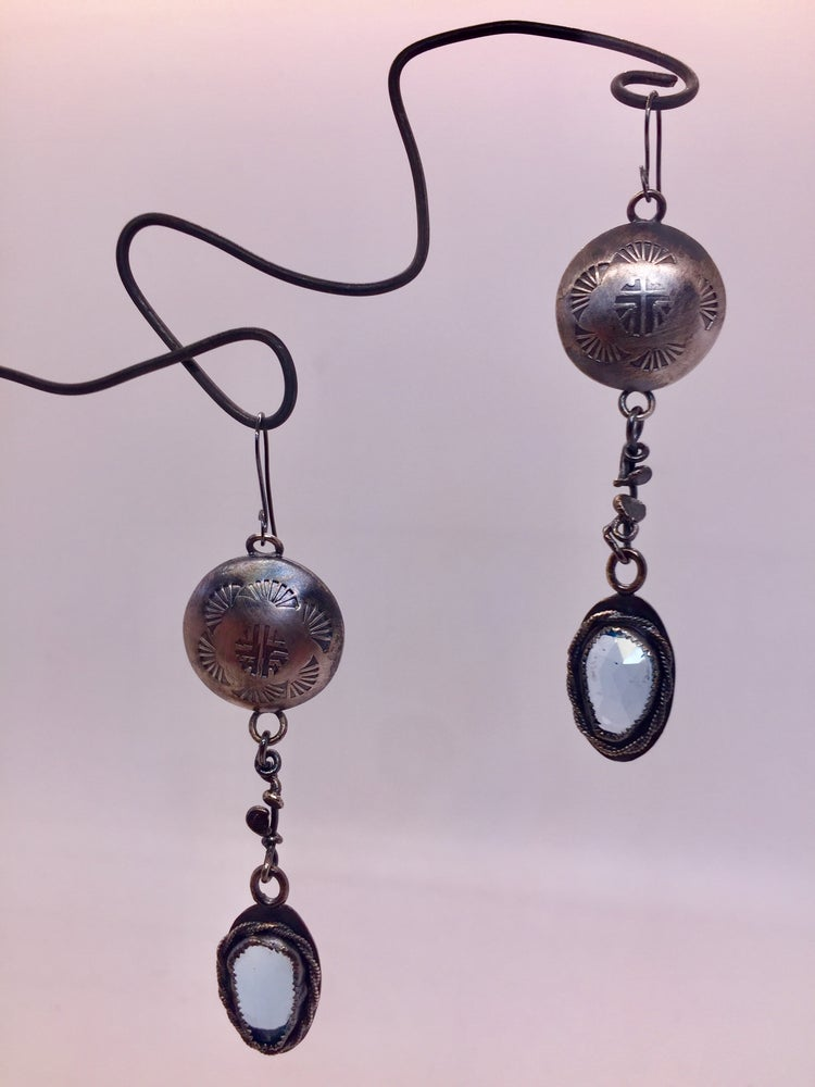 Image of Aztec Hollow Bead and Aquamarine Earrings