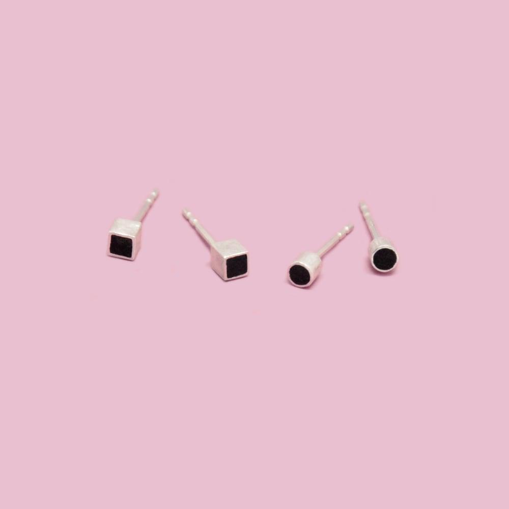 Image of TINY EBONY EAR STUDS