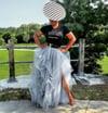 High-Split Tulle Skirt