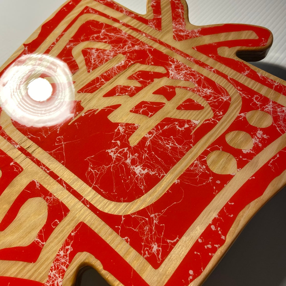 Image of Wood Cutout with Resin Coat - Red/Natural
