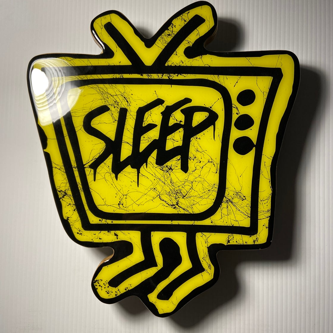 Image of Wood Cutout with Resin Coat - Yellow/Black