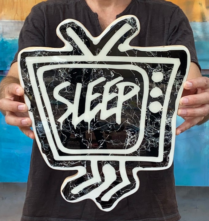 Image of Wood Cutout with Resin Coat - Black/White