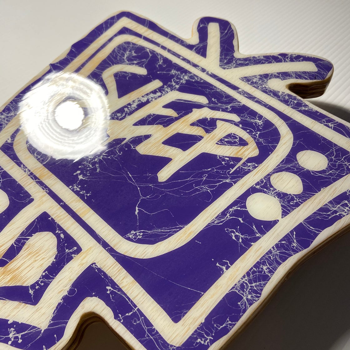 Image of Wood Cutout with Resin Coat - Purple/White