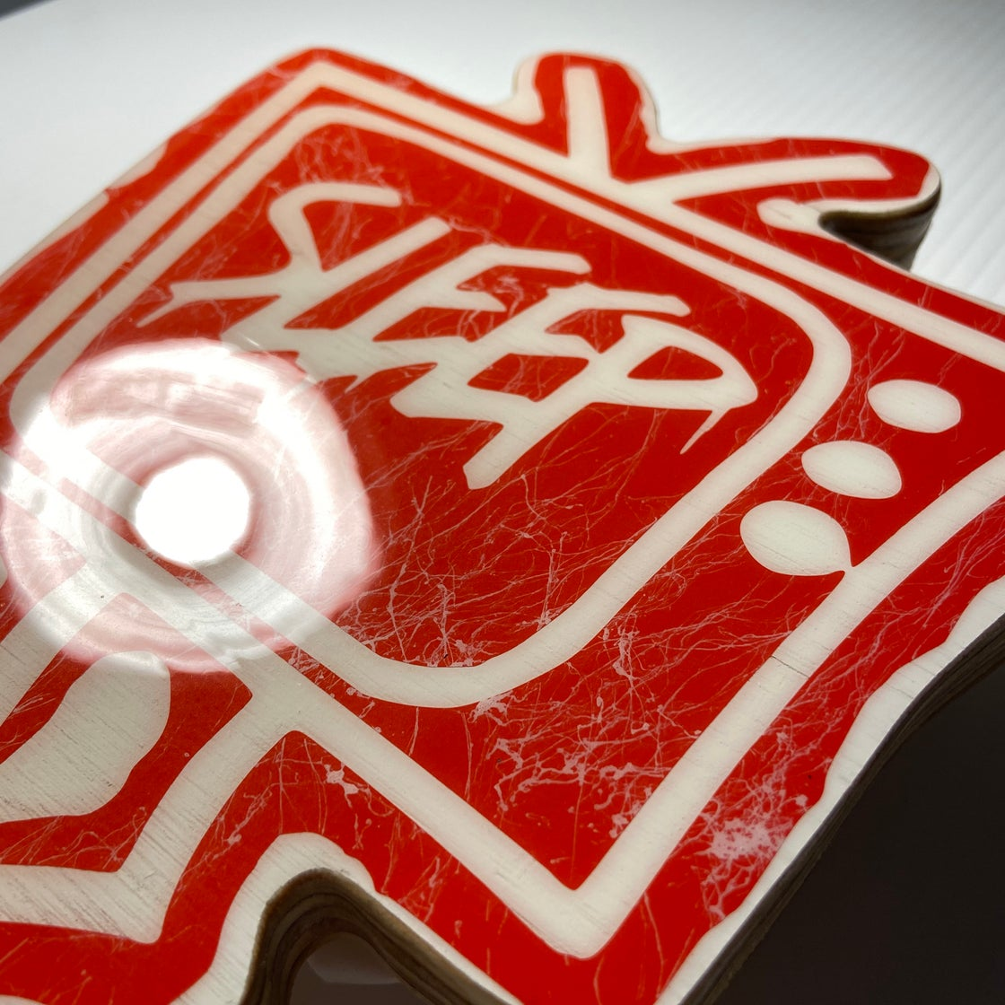 Image of Wood Cutout with Resin Coat - Red/White (medium)