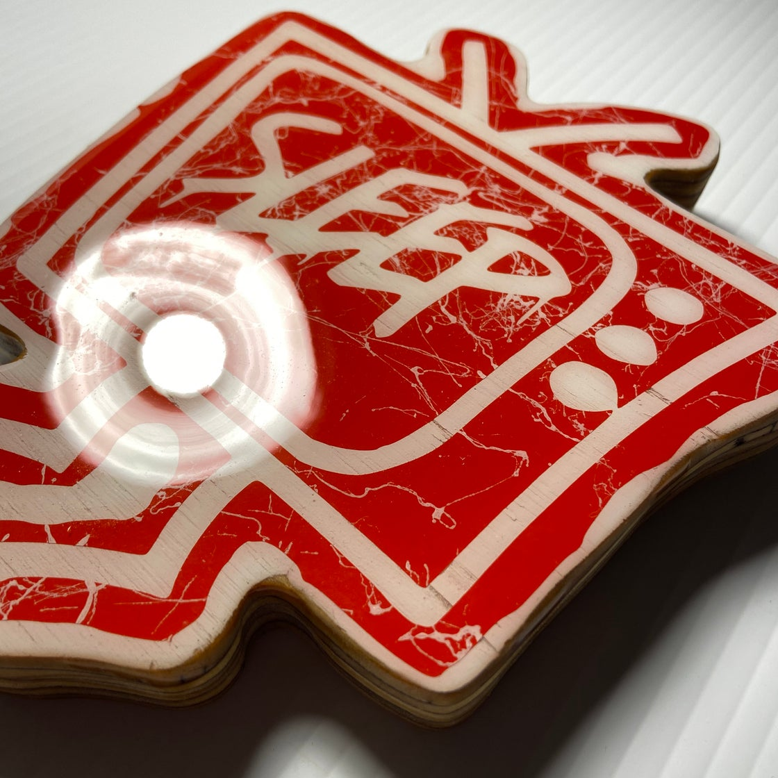 Image of Wood Cutout with Resin Coat - Red/White (small)