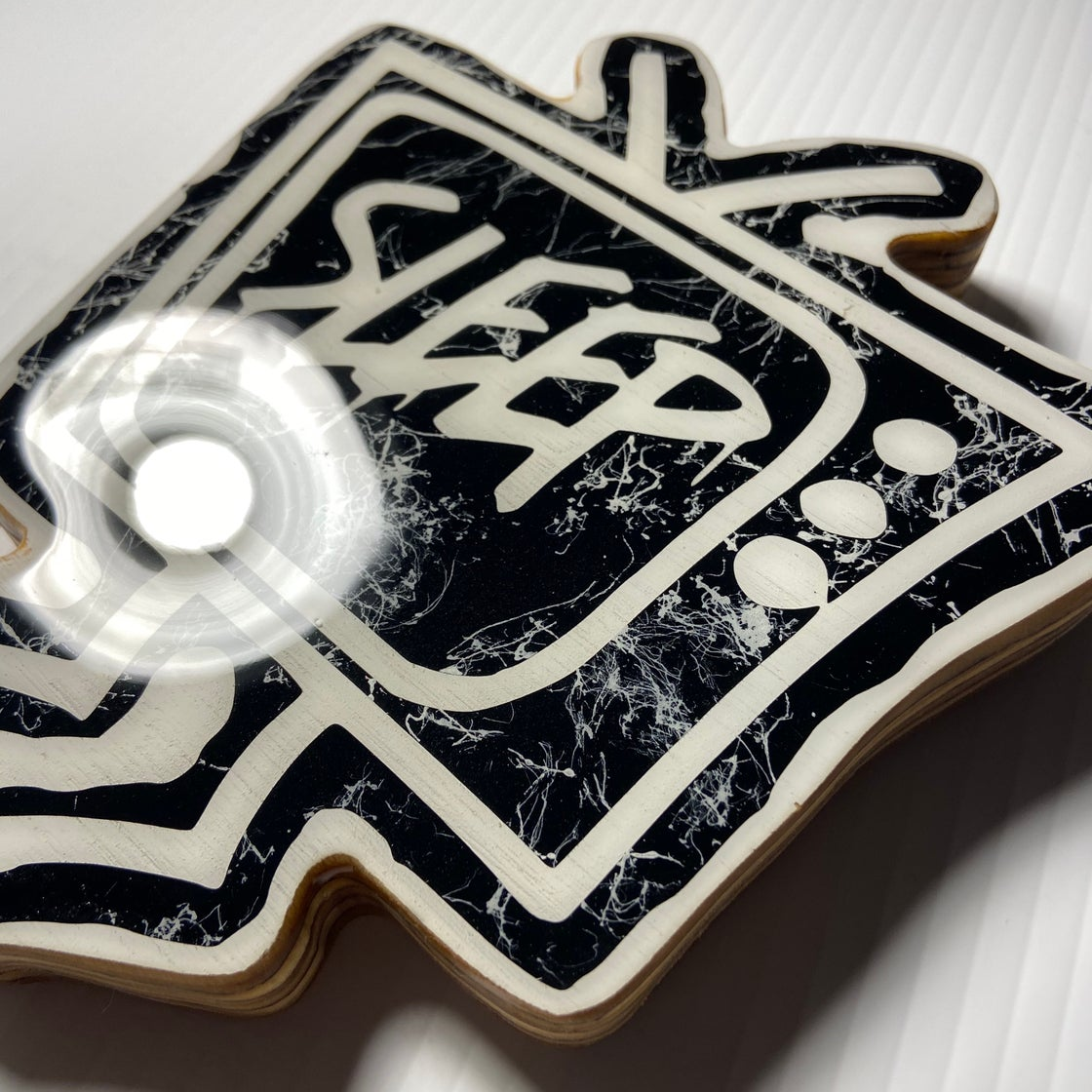 Image of Wood Cutout with Resin Coat - Black/White (small)
