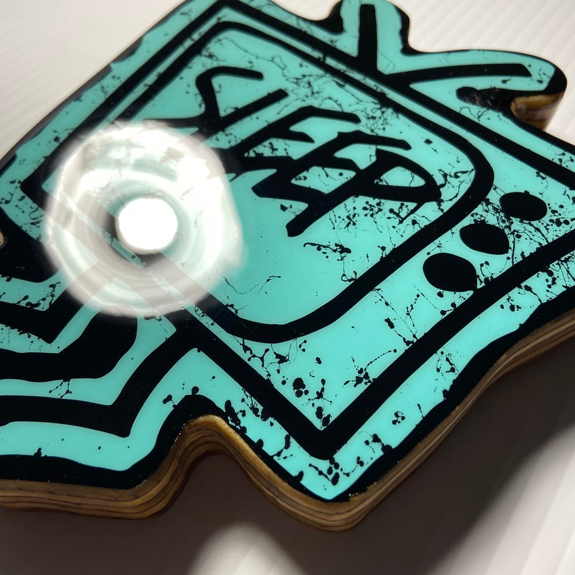 Image of Wood Cutout with Resin Coat - Turquoise/Black (small)