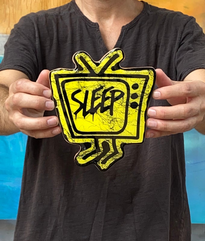 Image of Wood Cutout with Resin Coat - Yellow/Black (small)