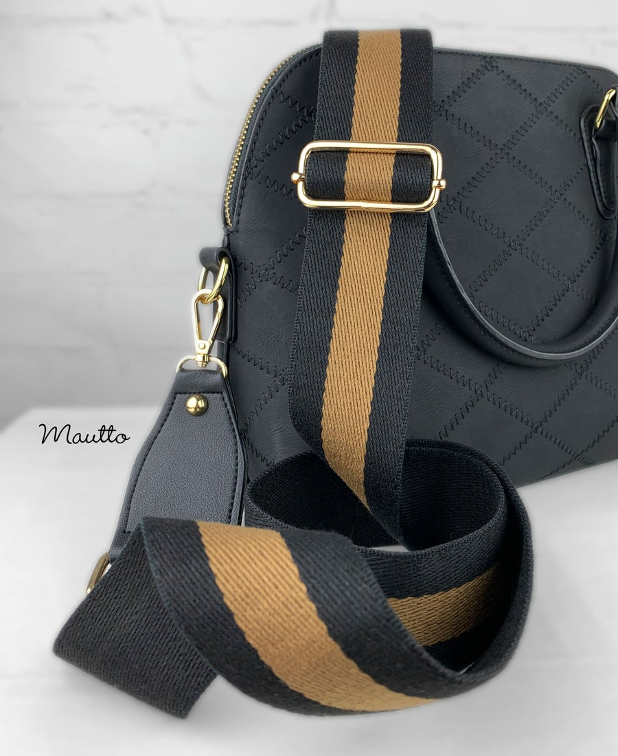 """Image of Black & Gold Strap for Bags - 2"""" Extra Wide/Comfy Cotton - Adjustable Shoulder to Crossbody Length"""