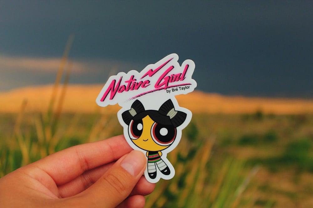 "Image of ""Native Girl"" cartoon sticker"