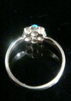 Victorian 18ct yellow gold turquoise and old rose cut diamond cluster ring