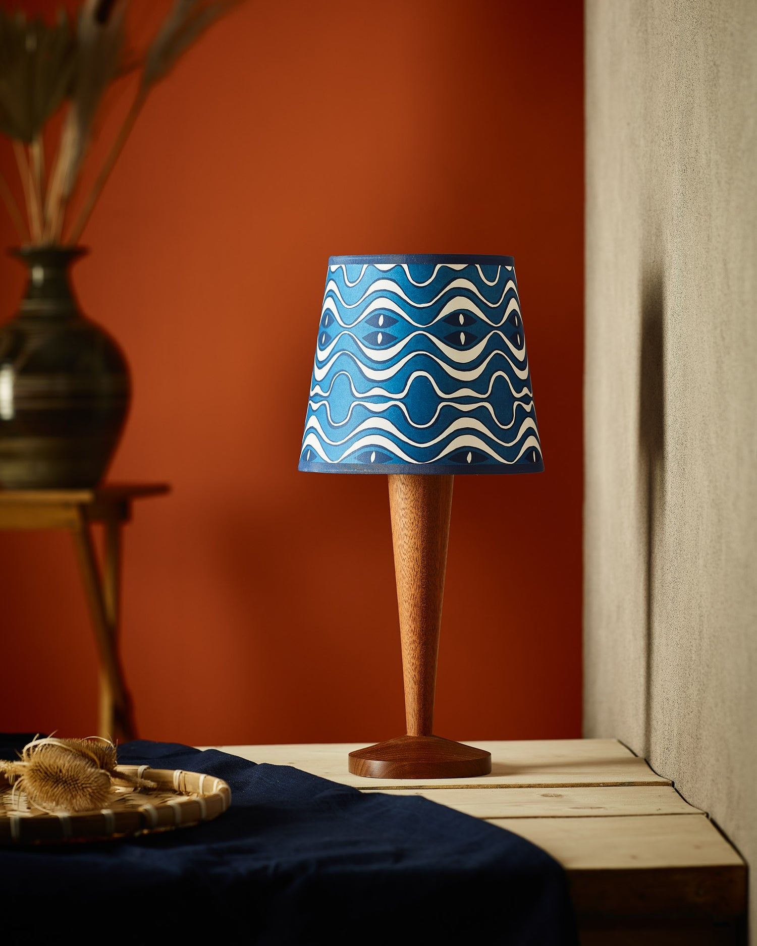 """Lampshade 8"""" - Wave in Blue"""