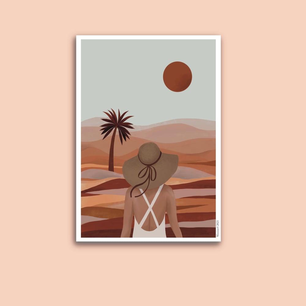 Image of Affiche Coucher de soleil dans le desert