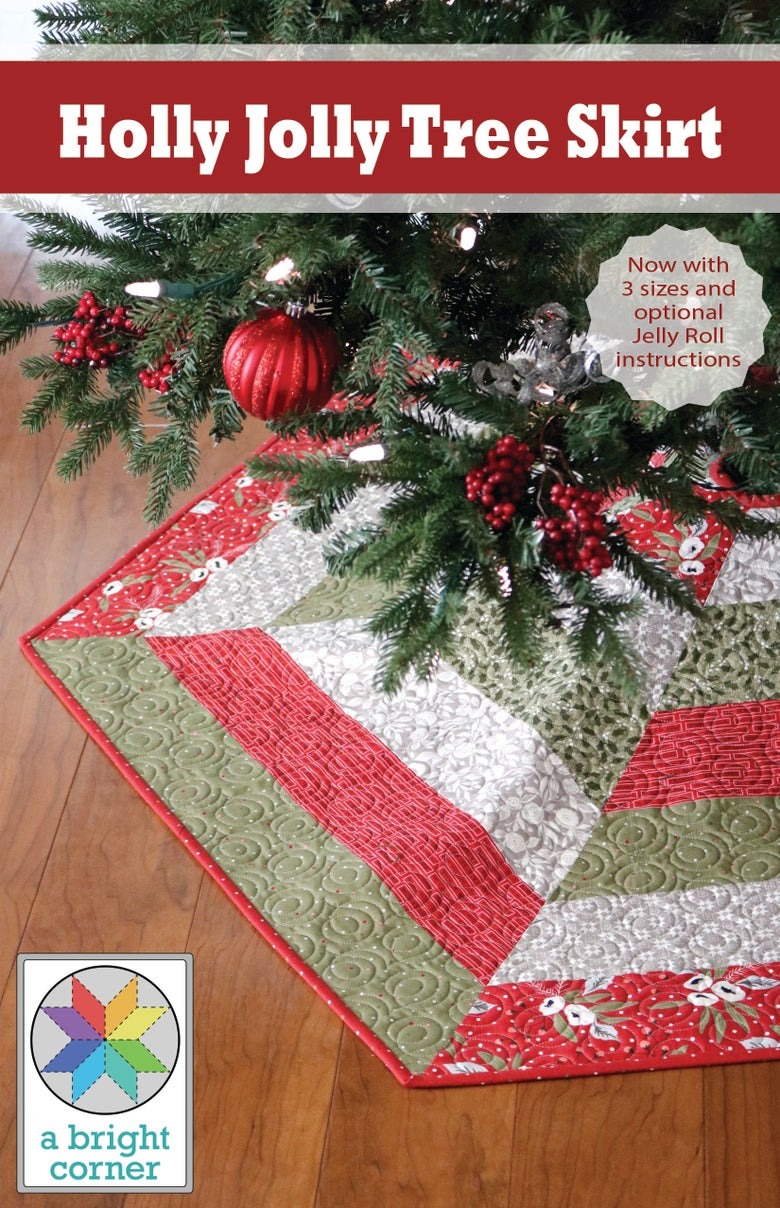 Image of Holly Jolly Christmas Tree Skirt Pattern - Paper Pattern