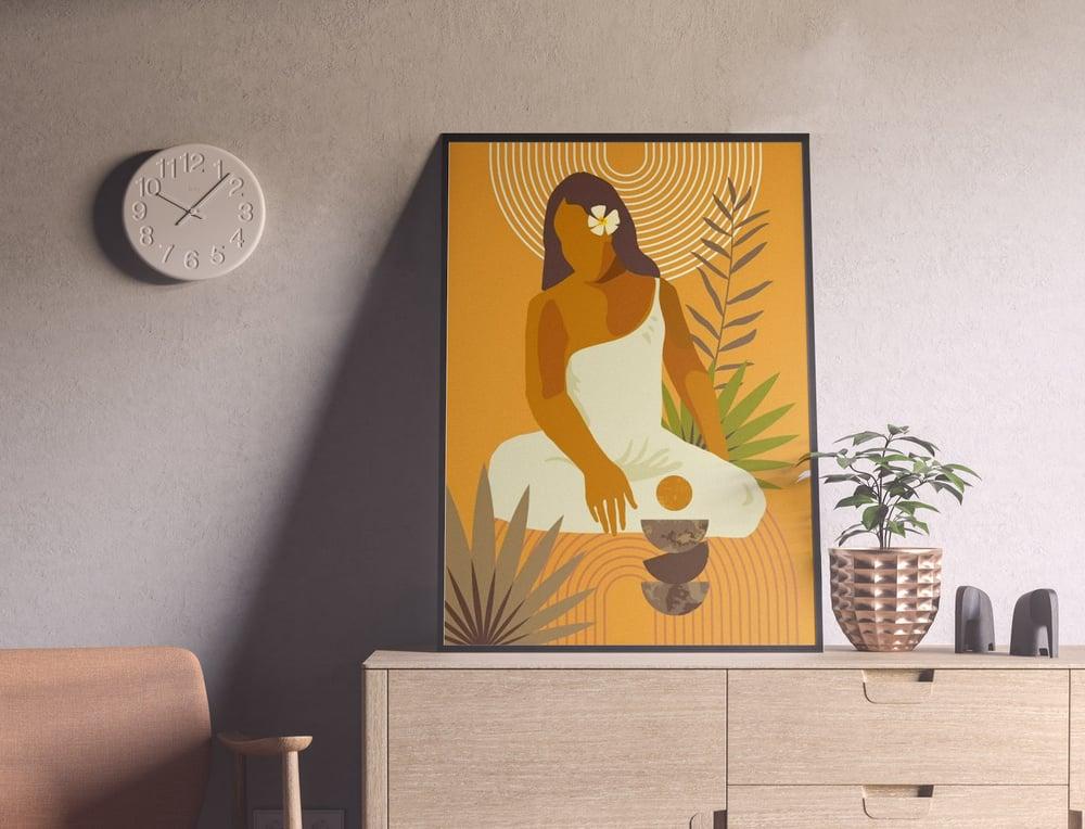 Exotic Sitting Woman Wall Art Print