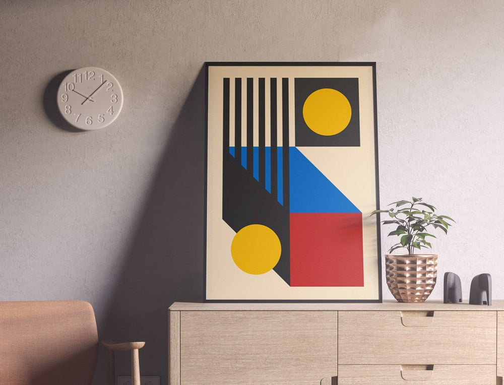 Bauhaus Exhibition Vintage Geometric Poster