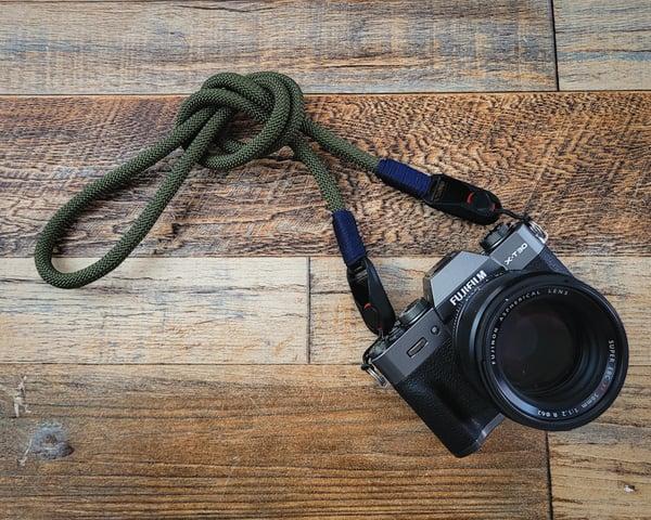 Image of Olive drab rope shoulder strap w/ PD anchor links