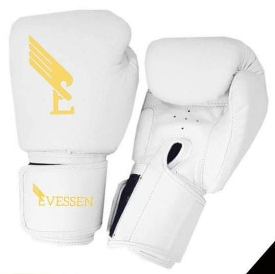 Image of Evessen White/Gold Velcro Hook & Loop Boxing Gloves