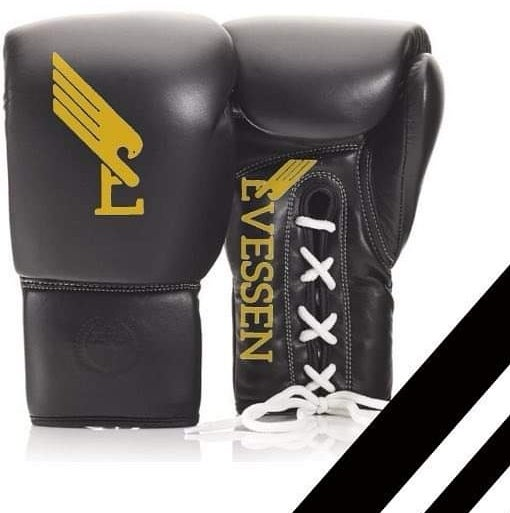 Image of Evessen Black/Gold Lace-Up Boxing Gloves