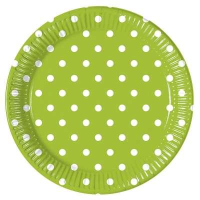 Image of Platos verde con lunares en blanco