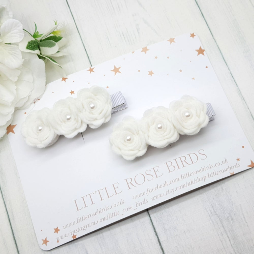 Image of White 3 Rose Headband or Clip