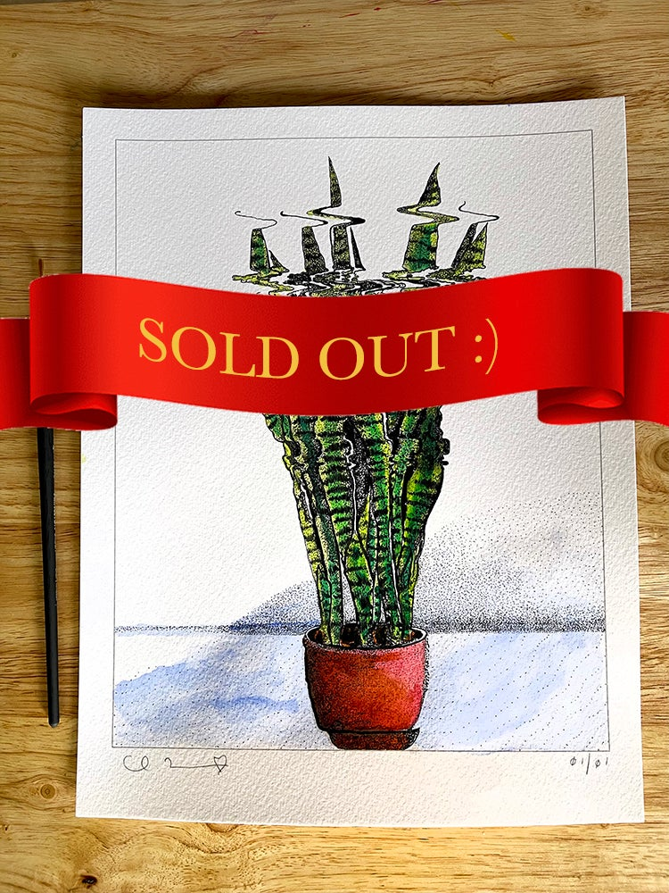 Image of 'Snake Plant' + Hand Painted Watercolor & Ink Accents