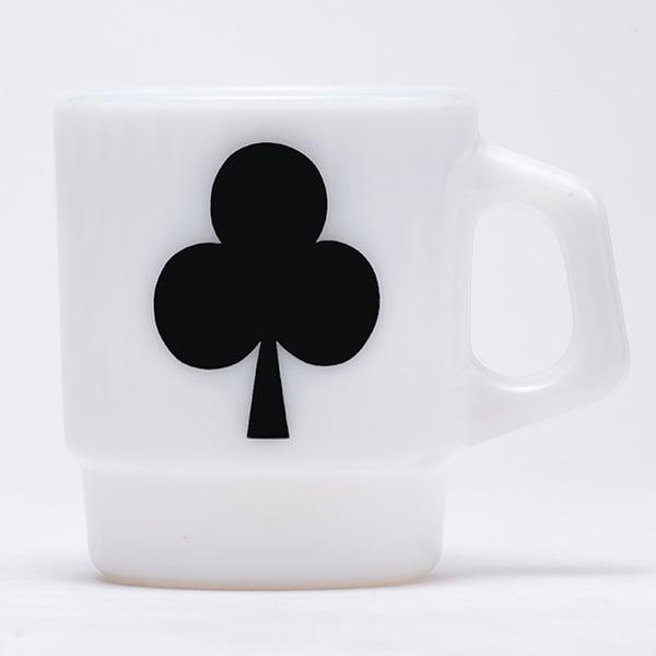 Image of 4 x Fire King Stacking Mugs - Spade Heart Club Diamond