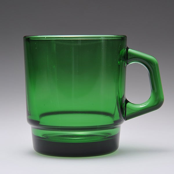 Image of 6 x Fire King Stacking Mugs - Forest Green/ Amber/ Sapphire Blue