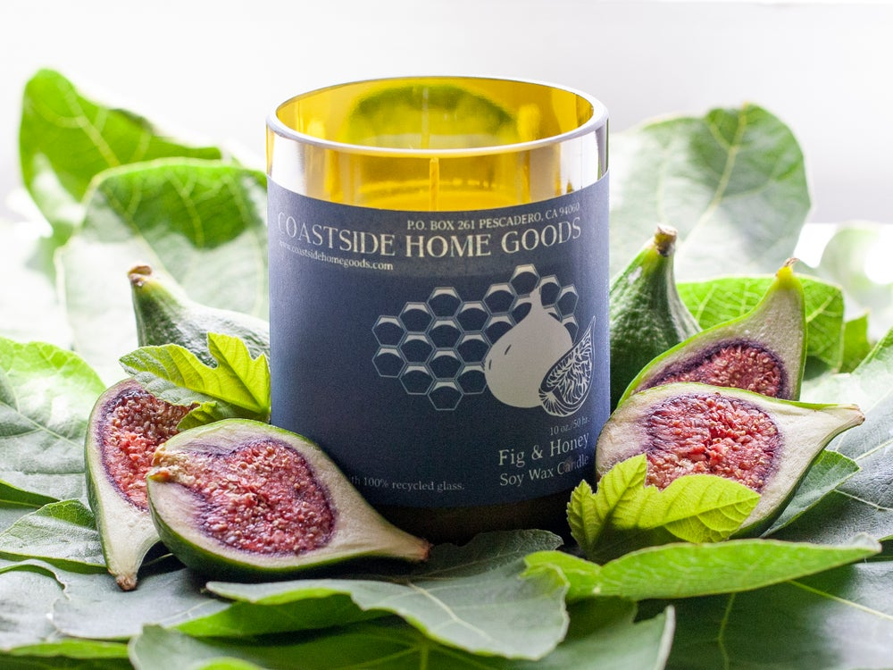Image of ReCycled Glass - Fig & Honey Soy Wax Candle