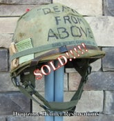 """Image of Vietnam M-1C Airborne Helmet & Firestone Paratrooper liner Mitchell Camo Cover """"DEATH FROM ABOVE"""""""