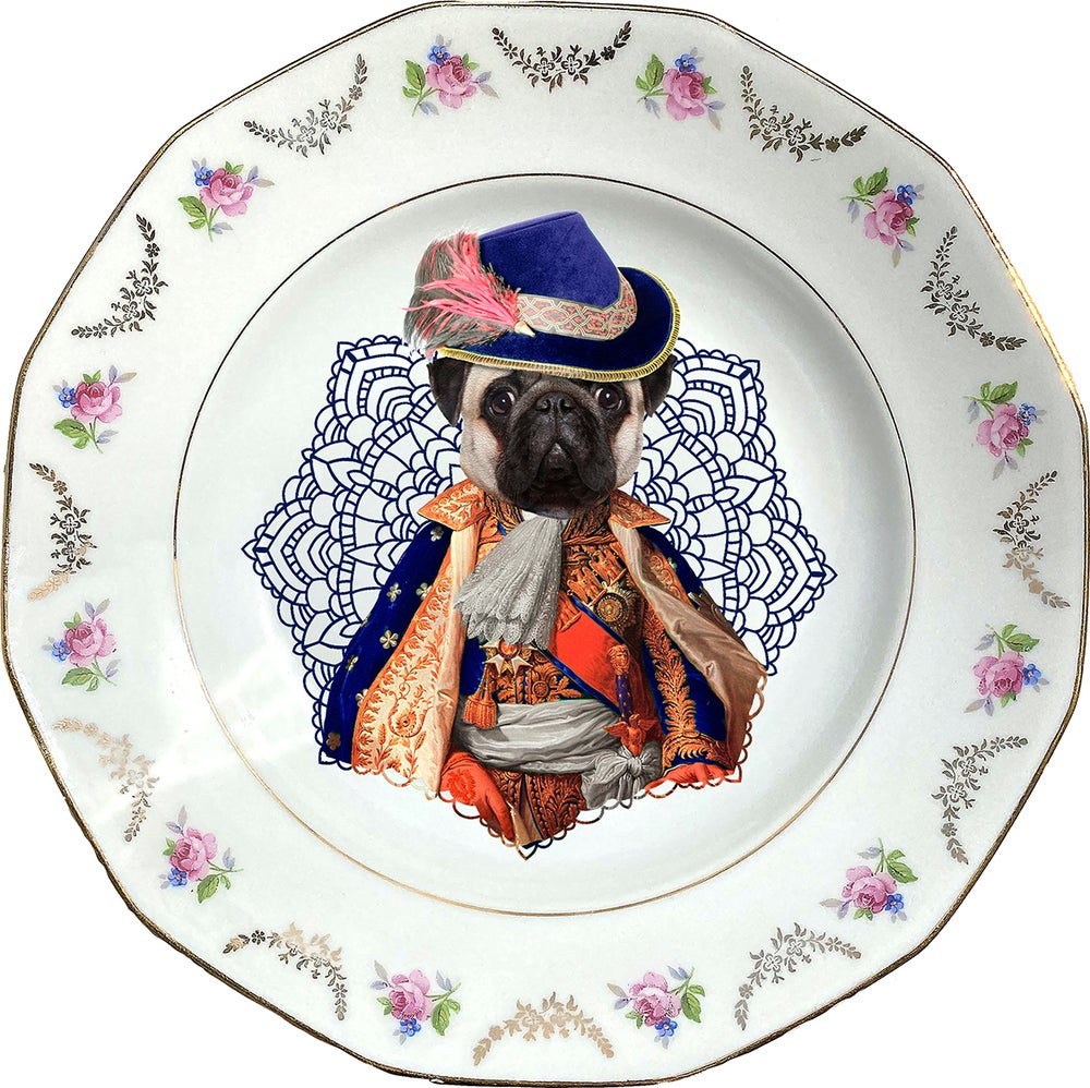 Image of Lord Pug - Carlino Porcelain Plate - #0732