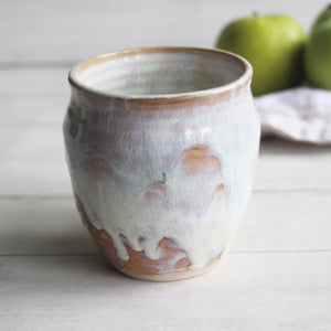 Image of Pottery Mug in Dripping White and Ocher Glaze, 16 oz, Handcrafted Stoneware Coffee Cup, Made in USA