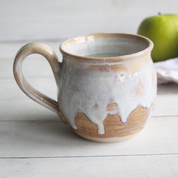 Image of Pottery Mug in Dripping White and Ocher Glaze, 16 oz. Handcrafted Stoneware Coffee Cup, Made in USA