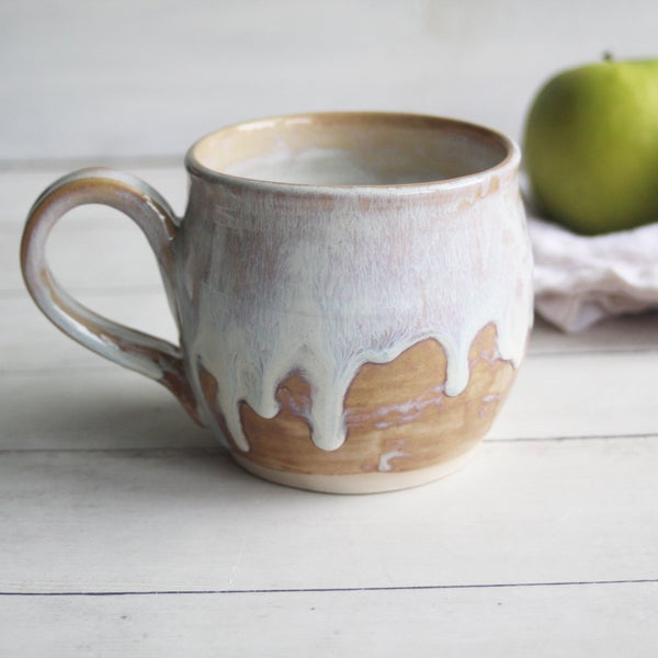 Image of Pottery Mug in Dripping White and Ocher Glaze, 16 oz. Handcrafted Coffee Cup, Made in USA