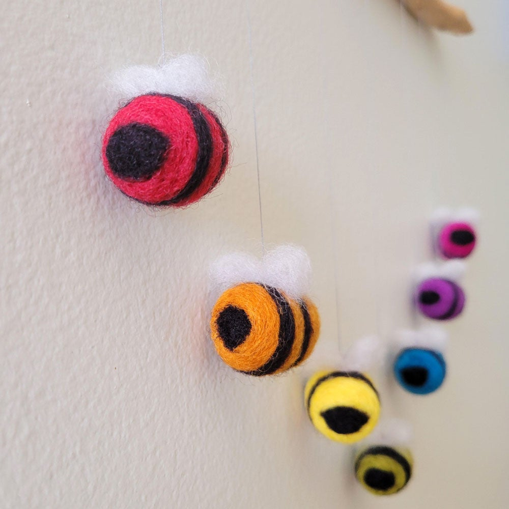 Rainbow Bees Mobile (brown driftwood)
