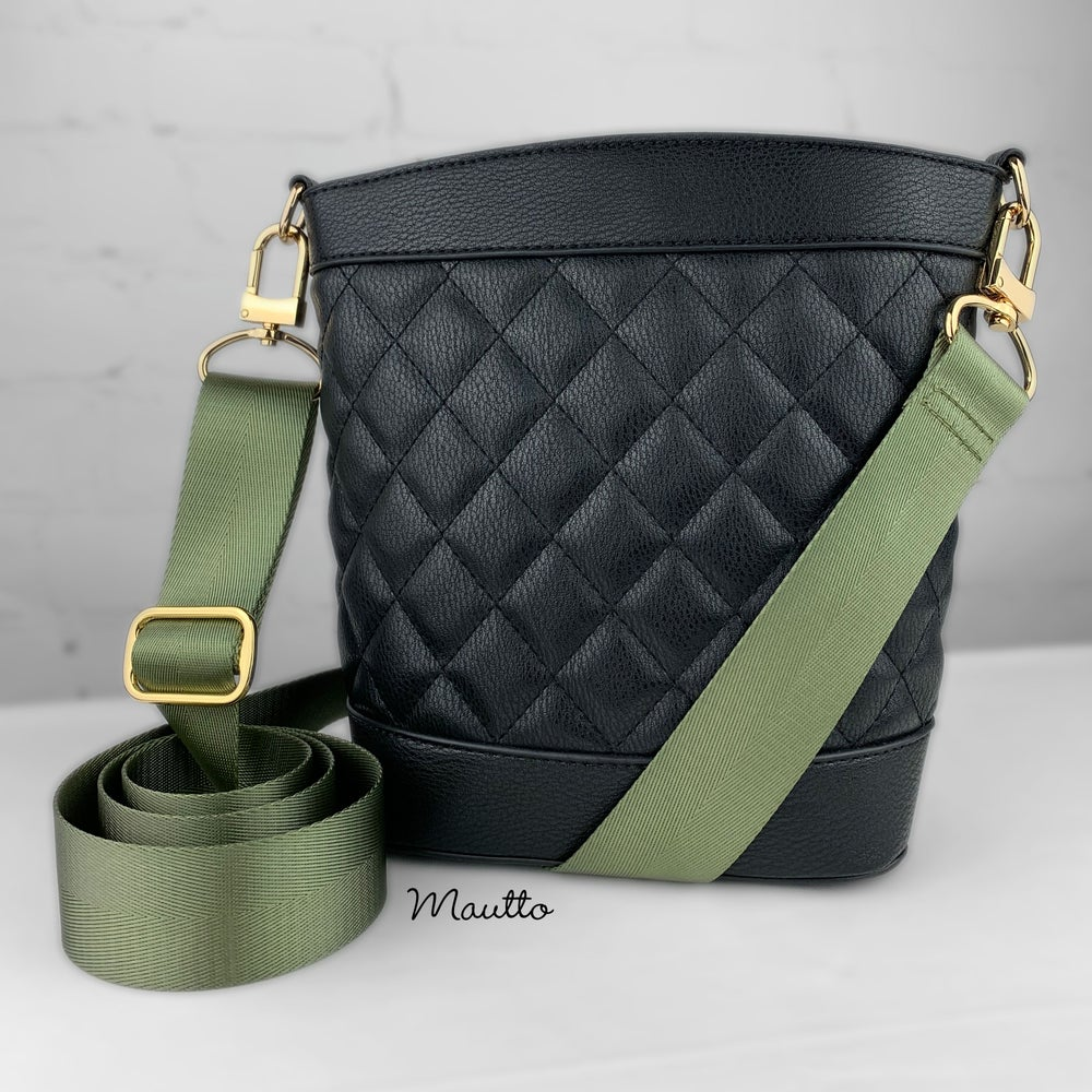"""Image of Olive Green Adjustable Strap for Bags - Luxurious Satin Nylon, 1.5"""" Wide - U Shape #16XLG Hooks"""
