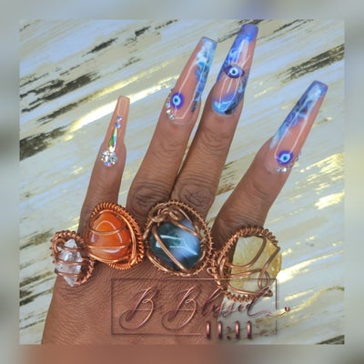 Image of Copper Wrapped Crystal Rings
