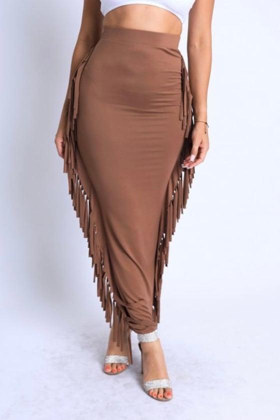 Image of Fringe Maxi Skirt