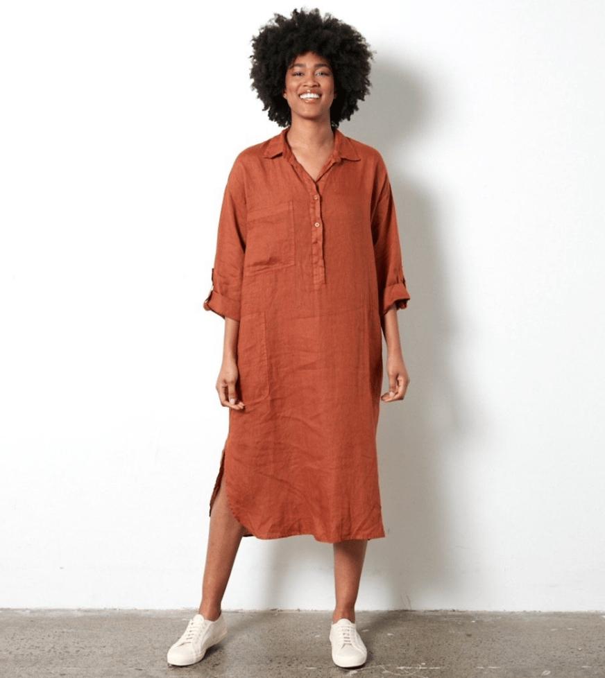 Image of Linen Shirt dress